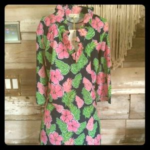Simply Southern Emma Tropical Hibiscus Dress